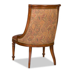 """Hooker Furniture - Knightsbridge Dining Chair - Side - White glove, in-home delivery included!  Fabric Back: Emilio Sonoma  Leather Seat: Savoy  Finish: Bella Dora  Seat Height: 21"""""""