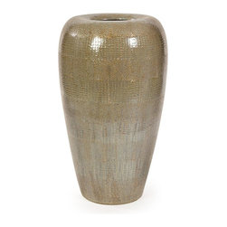 IMAX Worldwide Home - Tiago Tall Floor Vase - Material: 100% Stoneware. 30 in. H x 18.25 in. W x 18.25 in. D. Weight: 33.1 lbs.A wonderful accent for any end table, bookcase, or even on the floor in an unused corner of your home, the Tall Tiago Floor Vase features a lovely, rounded design with a vintage, antique appearance that will accentuate the look of any style of home decor. For a coordinated look, purchase all five distinct Tiago pieces and place them together on a bookshelf or console. Whether for your home office, living room or any other space, you'll love the way this home accent updates the look of your home decor.