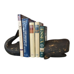 Handcrafted Nautical Decor - Decorative Whale Bookends 11'' - The Decorative Whale Bookends 11'is a one of a kind unique set of book ends. Perfect for those who have an affinity for sea life, place this in your home office to hold books together on a desk top. ----5'' Long x 3'' Wide x 5'' High----    Handcrafted by our master artisans--    Sturdy, durable, and perfect for any nautical themed office     --    Wonder whale decoration--