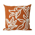 """Trans-Ocean Inc - Windsor Orange 20"""" Square Indoor Outdoor Pillow - The highly detailed painterly effect is achieved by Liora Mannes patented Lamontage process which combines hand crafted art with cutting edge technology. These pillows are made with 100% polyester microfiber for an extra soft hand, and a 100% Polyester Insert. Liora Manne's pillows are suitable for Indoors or Outdoors, are antimicrobial, have a removable cover with a zipper closure for easy-care, and are handwashable.; Material: 100% Polyester; Primary Color: Orange;  Secondary color: white; Pattern: Windsor; Dimensions: 20 inches length x 20 inches width; Construction: Hand Made; Care Instructions: Hand wash with mild detergent. Air dry flat. Do not use a hard bristle brush."""
