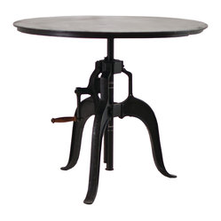 "Four Hands - Rockwell Adjustable Table 36"", Black - Flaunt your eclectic ""upcycle"" style with this smart adjustable table. The top, of consciously harvested solid mango wood, is joined to refurbished old machine parts — resulting in a study of form and function."