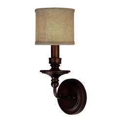 Springfield Sconce with Linen Drum Shade 1 LT - 3 finishes! -