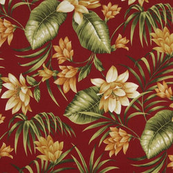 Red Gold And Green Floral Outdoor Indoor Marine Upholstery Fabric By The Yard - This upholstery grade fabric can be used for all indoor and outdoor applications. It is Scotchgarded, and is mildew, fade, water, and bacteria resistant. This fabric is made in America!