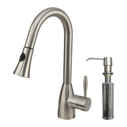 VIGO Industries - VIGO Stainless Steel Pull-Out Spray Kitchen Faucet with Soap Dispenser - Purchase a VIGO pull-out kitchen faucet for optimal spout reach and height.