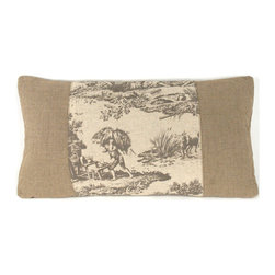 Kathy Kuo Home - French Country Burlap Gray Toile Lumbar Toss Pillow - A window of pastoral toile pattern is framed neatly in the center of this rectangular French country pillow. Toss several of these across your rustic cottage living room,  adding a soft timeless quality to the room.