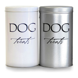 Classic Treat Tins - Silver - An airtight cylinder with a flat, close-fitting lid, the Classic Treat Tin in White is made from recycled steel for ecological responsibility and styled with a sleek aesthetic to save space on your countertop or shelf. Both delightful and durable, this container can keep dog biscuits fresh for weeks, and its script label raises the tone of your pet's territory.
