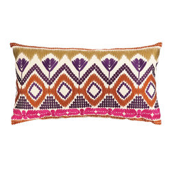 "Trina Turk - Trina Turk Anza Magenta Embroidered Pillow - The Trina Turk Anza throw pillow lends contemporary interiors vibrant energy. In a myriad of daring colors, this linen accessory's tribal embroidered print elicits modern appeal. 26""W x 14""H; 100% linen; Magenta, purple, blue, orange, gold; Includes feather down insert; Hidden zipper closure; Dry clean only"