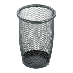 "Safco - Onyx Mesh Small Round Wastebasket (Qty.3) - Black - Less Mess. Less mess equals area enhancement. What better way to enhance an area than with an attractive wastebasket? Available in several sizes for less waste of space and more space for waste. This 3 quart round mesh wastebasket features sturdy steel rim and welded construction. It's unique mesh design allows for air flow, hindering the growth of mold and odor.; Features: Material: Steel Mesh; Color: Black; Finished Product Weight: 1 lbs.; Assembly Required: No; Limited Lifetime Warranty; Dimensions: 7 1/2""Dia. x 9""H"
