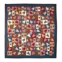 Patch Quilts - Primitive Hearts Twin Quilt - -Constructed of 100% Cotton  -Machine washable; gentle dry  -Made in India Patch Quilts - QTPHRT