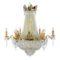 Oriental Furniture - King's Banquet Crystal Chandelier - King's Banquet chandelier featuring the traditional crown and collar frame of cast bronze finished in an antiqued gold. Curved arms and center column hold faux-candlestick light bulbs. High quality cut glass crystal beads and pendants are strung from the crown to the acanthus-leaf-adorned collar, down to lower cluster of glass pendants. Further crystals are draped among candlestick arms. An elegant lighting solution for the dining room, entry way, or a larger banquet room. Professional installation recommended.