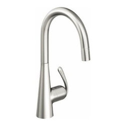 """Grohe - Grohe 32226SD0 Stainless Steel Ladylux3 Ladylux3 Pull-Down Kitchen - Product Features:  Stainless steel faucet body construction ensures durability for a lifetime Covered under Grohe s limited lifetime warranty Grohe faucets are exclusively engineered in Germany Finishes will resist corrosion and tarnishing through everyday use - finish covered under lifetime warranty Grohe kitchen faucets will surprise and delight the user with every interaction The perfect synthesis of form and function Single handle operation Pullout spray faucet head enhances faucet s versatility Spout swivels 360-degrees providing greater access to more areas of the sink High-arch gooseneck spout design provides optimal room under the faucet for any size task ADA compliant Low lead compliant - meeting federal and state regulations for lead content  Product Technologies / Benefits:  Starlight Finish: Continuously improving over the last 70 years Grohe's unique plating process has been refined to produce and immaculate shiny surface that is recognized as one of the best surface finishes the world over. Grohe plates sub layers of copper and/or nickel to ensure that a completely non-porous, immaculate surface awaits the chrome layer. This deep, even layered chrome surface creates a luminous and mirror like sheen. Grohe finishes are life tested to withstand 60,000 """"wipes"""" with an abrasive cloth. SilkMove Cartridge: The rich and smooth handling of our single lever faucets conveys pure quality. As you change the temperature from hot to cold, one ceramic disc glides effortlessly across the other with absolute precision. These cartridges are manufactured in a high-tech process and feature discs made from a space-proven ceramic alloy. The SilkMove cartridge is yet another example of design and technology fusing to bring you"""