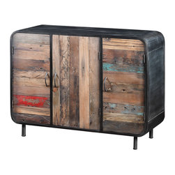 Artemano - Three Door Sideboard Made of Recycled Wood and Industrial Metal - The wood from our recycled boat collection, including the colorful wood used for the Three Door Sideboard, is salvaged from wrecked fishing boats in Indonesia.  Each plank of wood has its own unique paint flecks, cracks, holes and markings making each of these handcrafted sideboards unlike any other. With adequate storage and a ton of character, this buffet is sure to be a topic of conversation when sitting at the dining table.