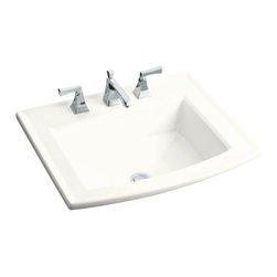 "KOHLER - KOHLER K-2356-8-0 Archer Self-Rimming Bathroom Sink with 8"" Widespread Faucet - KOHLER K-2356-8-0 Archer Self-Rimming Bathroom Sink with 8"" Widespread Faucet Holes in White"