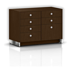 Geiger - Sled Base Credenza, Four Drawers - One look and you'd think this is a gorgeous bedroom credenza — but this one is for your office. Instead of shirts and socks, this sophisticated cabinet gives you lots of room for files and other daily office supplies.
