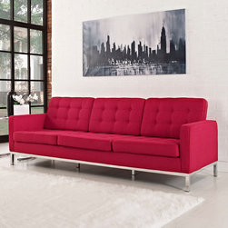 Florence Style Red Wool Loft Sofa - The Loft Sofa offers a stunning and luxurious look that will instantly enhance any space. This mid-20th century modern leather sofa is inspired by the designs of Florence Knoll 1954 lounge collection, and has a recognizable mid-century modern style.The simple style of the Loft Sofa in wool upholstery makes for a clean, sharp look. Tufted accents create a beautiful pattern, and the couch's low profile makes the loft sofa an ideal item small space. Features a polished stainless steel frame, and high quality wool upholstery. This item is a high quality reproduction of the original. The Loft modern sofa is the preferred choice for reception areas, living rooms, hotels, resorts, restaurants and other lounge spaces.