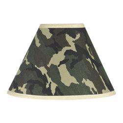 Sweet Jojo Designs - Camouflage Green Lamp Shade - Camouflage Green Lamp Shade by Sweet Jojo Designs is a beautifully designed childrens lamp shade that is made to fit small desk-sized lamp bases (base not included).  The lampshade attaches securely on the lamp's light bulb socket and the light bulb is twisted in through the opening at the top.