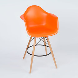 Barstool Arm Chair in Orange - Take iconic mid-century modern design to new heights. Inspired by the classic design aesthetic of our Montmarte Arm Chair, the Barstool Arm Chair offers stylish modern seating for your counter-height needs. The chair features a smooth polypropylene seat with a waterfall edge for added support. It also features natural wood dowel legs. We see this chair fitting in at the kitchen island, providing a comfortable seat for late night stacks or kitchen chatter. Available in a variety of vibrant colors, the chair will spruce up your d�_�cor without overpowering the room.