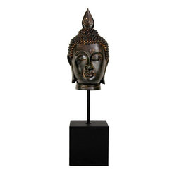 """Oriental Furniture - 19"""" Burmese Buddha Head Statue - An interesting and unique Asian style decorative accessory, a particularly fine reproduction bronze Buddha head. This design is Burmese, with the flaming pointed top knot, and beautifully knotted hair. Add an element of East Asian beauty and charm to you living room, bedroom or studio. Decorate your work space with an attractive Buddha reproduction. These are wonderful, well crafted designs, from a simpler time when art was an important part of daily life."""