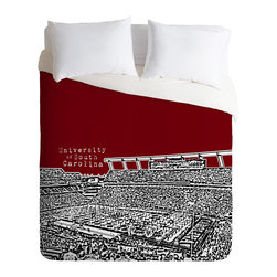 DENY Designs - Bird Ave University Of South Carolina Dark Red Duvet Cover - Turn your basic, boring down comforter into the super stylish focal point of your bedroom. Our Luxe Duvet is made from a heavy-weight luxurious woven polyester with a 50% cotton/50% polyester cream bottom. It also includes a hidden zipper with interior corner ties to secure your comforter. it's comfy, fade-resistant, and custom printed for each and every customer.