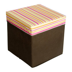 Blancho Bedding - Pink & Yellow Stripes Square Foldable Storage Ottoman / Storage Boxes - The Foldable Storage Seat will make an ideal addition to your room, which combines accessible everyday storage with a useful occasional seat. Not only does it provide you a comfortable place to rest, but it also offers extra space to store your gaming gear, gadgets, books, magazines, and other household necessities. With lots of storage space, the ottoman helps you keep your room free from clutter. Made with non-woven fabric and durable cardboard. It spices up your home's decor, and create a multifunctional storage unit for all around your home.