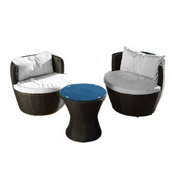 Great Deal Furniture - Pattaya 3pcs Outdoor Chat Set - The Pattaya chat set is the perfect cozy place to sit outdoors while eating, chatting, or relaxing. Complete with a seat and back cushions made of Sunbrella, you can be comfortable while the PE wicker set fends off the outdoor elements.