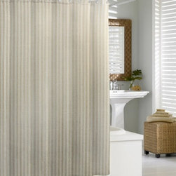 Linen Chevron Shower Curtain - The Linen Chevron shower curtain will brighten any bath with the natural elegance of linen and the modern appeal of a chic chevron pattern. 50% linen / 50% cotton jacquard.  Shower liner must be used with this shower curtain. Imported.