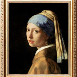 Artcom - Girl with a Pearl Earring, circa 1665-6 by Jan Vermeer - Girl with a Pearl Earring, circa 1665-6 by Jan Vermeer is a Framed Giclee Print set with a PARMA Gold wood frame.
