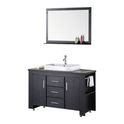 "Design Element - Design Element Washington Espresso Modern Single Vessel Sink Vanity Set - 48"" - The Washington 48"" Vanity is stylishly constructed of solid plywood panels with veneer laminate. The hybrid vessel drop in sink and sleek cabinetry bring style and utility to any bathroom. The sinks rectangular round corner design beautifully contrast with the cabinets sleek lines and espresso finish. This vanity includes side storage, two soft closing cabinets and two functional drawers adorned with satin nickel hardware. Included is an espresso framed mirror with shelf. The Washington Bathroom Vanity is designed as a center piece to awe-inspire the eye without sacrificing quality, functionality or durability."