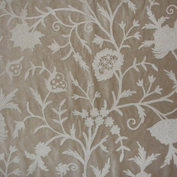 Crewel Fabric Tree of Life White on Light Brown Cotton Velvet- Yardage - Inspiration: Tree of Life is a pattern inspired by the flowers of Kashmir.This Crewel Fabric representing the flowers in a garden is a delicate balance of real flowers and an artists imagination.