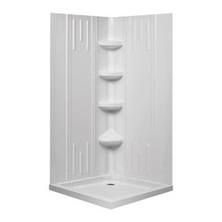 DreamLine - DreamLine QWALL-2 Shower Backwall Kit - DreamLine universal shower wall panels are both a functional and beautiful addition to any bathroom. These versatile shower wall panels are made of advanced materials and engineered with a trim-to-size fit that works with most DreamLine shower enclosures. Ceramic tile walls for shower enclosures may look good, but are very difficult and expensive to install and even tougher to take care of. DreamLine shower wall panels install in hours and are easy to maintain and enjoy for many years to come. Product Type: Shower Backwall Kit,  Color: White,  Assembly required,  3 integrated shelves and a convenient corner foot rest,  Unique water tight connection of side walls, back panel and corner panels,  Trim-to-Size design for shower enclosures wall dimensions 29 7/8 in. to 40 1/2 in. width from corner; height of the glass not to exceed 72 7/8 in.,  The acrylic wall systems are specially designed to be installed over existing solid surface not directly against the studs,  ,  Shown with optional baseProduct Warranty:,  Limited 1 (one) year manufacturer warranty