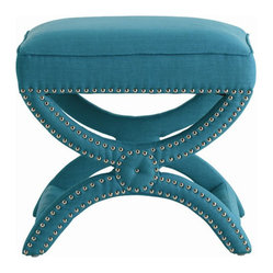 Arteriors Home Tennyson Turquoise Linen Stool with Nickel Studs