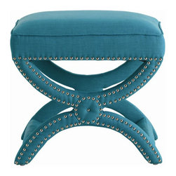 Arteriors Home - Arteriors Home Tennyson Turquoise Linen Stool with Nickel Studs - Arteriors Home - Give your vanity area a bit of an edge with this upholstered, linen fabric stool with nickel-stud accents. The curvy X-bench design will make a shapely statement for your bedroom or sitting room.