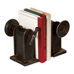 Crank It Out Bookend Pair - Keep your beloved novels tidy and give them the respect they deserve. Tuck these old-fashioned bookends around them for industrial-strength protection.