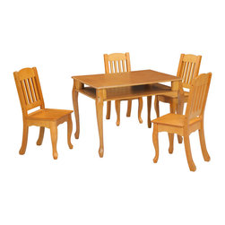 "Teamson Kids - Windsor Honey Rectangular Table And Chairs Set - Let style and functionality meet with our magnificent Windsor Honey Rectangular Children's Table And Chairs Set. Exquisitely designed by the Teamson Company, this table and chair set is made to last. Perfectly hand carved of superior wood, and vividly hand painted of a fine honey wood color, this set embodies a style that can match any room decor. Includes 1 table and 2 chairs. Dimensions: 31.50"" x 23.5"" x 22.5"" Note: some assembly may be required."