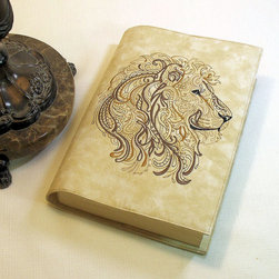 CUSTOM Lion Large Paperback Book Cover on Cotton fabric, Machine Embroidered - This book cover with the machine embroidered lion can be custom made for you. Lead time is about one week. I love to read the new larger paperback books. And I prefer the soft natural feel of cotton. Add a wonderful machine embroidered design and the result is spectacular!
