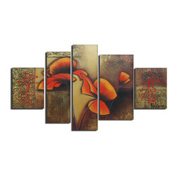 fabuart - Highly Textured Flower Oil Painting 5 Panel- 62 x 36in - This beautiful Art is 100% hand-painted on canvas by one of our professional artists. Our experienced artists start with a blank canvas and paint each and every brushstroke by hand.