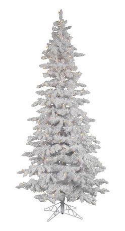 """Vickerman - Flocked White Slim 400WmWht (7.5' x 43"""") - 7.5' Flocked White Slim Tree 1019 PVC tips & Snow, 360 LED Italian Lights on/off switch step, metal stand. . Utilizes energy-effiecent, durable LED technology."""