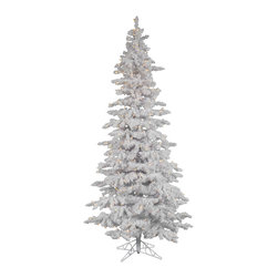 "Vickerman - Flocked White Slim 400WmWht (7.5' x 43"") - 7.5' Flocked White Slim Tree 1019 PVC tips & Snow, 360 LED Italian Lights on/off switch step, metal stand. . Utilizes energy-effiecent, durable LED technology."