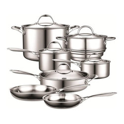 Cooks Standard - Cooks Standard Stainless Steel 12-Piece Cookware Set - Features: -Set includes 12 piece cookware set.-Cooks standard collection.-Distressed: No.Dimensions: -Overall dimensions: 14'' H x 22'' W x 14'' D.-Overall Product Weight: 28 lbs.Warranty: -Manufacturer provides lifetime limited warranty.