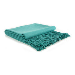"""Pur by Pur Cashmere - Signature Blend Throw Lagoon 50""""x65"""" With 6"""" Fringe - Bamboo velvet throw. 100%  bamboo.  Dry clean only. Inner mongolia."""