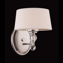 Savoy House Lighting - Savoy House Lighting 8-1041-1-109 Murren 1 Light Wall Sconces in Polished Nickel - A Transitional look, combining the best of Traditional and Contemporary styles, with a cleaner, less ornamented design.  The Polished Nickel finish works well with the hardback white fabric shades. This versatile family includes a rod hung three light trestle and an assortment of incredibly unique pendants and bath bars.