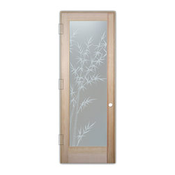 "Sans Soucie Art Glass (door frame material T.M. Cobb) - Interior Glass Door Sans Soucie Art Glass Bamboo Forest Private - Sans Soucie Art Glass Interior Door with Sandblast Etched Glass Design. GET THE PRIVACY YOU NEED WITHOUT BLOCKING LIGHT, thru beautiful works of etched glass art by Sans Soucie!  THIS GLASS PROVIDES 100% OBSCURITY.  (Photo is View from OUTside the room.)  Door material will be unfinished, ready for paint or stain.  Satin Nickel Hinges. Available in other wood species, hinge finishes and sizes!  As book door or prehung, or even glass only!  1/8"" thick Tempered Safety Glass.  Cleaning is the same as regular clear glass. Use glass cleaner and a soft cloth."