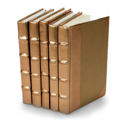 Metallic Collection Books - Gold - Set of 5 - You can, indeed, judge a book by its cover. A visually striking set of decorative tomes, the Metallic Collection Books - Gold - Set of 5 make an impressive graphic statement when placed upon a shelf in an eclectic great room, a window ledge in a home office, a fireplace mantel embellished with objects d'art, or glass-fronted armoire in a personal library.
