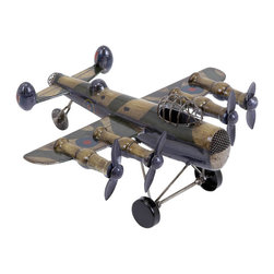Benzara - Metal Plane 10in.W, 5in.H Unique Home Accents - Size: 10 Wide x 11 Depth x 5High (Inches)