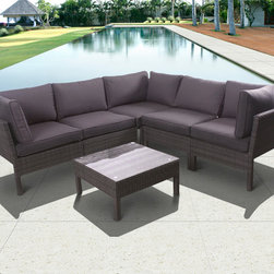 International Home Miami - Atlantic Infinity 6 Piece Wicker Seating Set Grey w/ Grey Cushions - Great quality  stylish design patio sets  made of aluminum and synthetic wicker. Polyester cushion with water repellant treatment. Enjoy your patio with elegance all year round with the wonderful Atlantic outdoor collection.