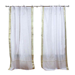 Indian Selections - Pair of White with Gold Tie Top Sheer Sari Curtains, 43 X 108 In. - Several sizes available