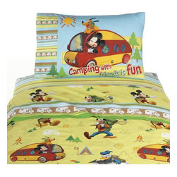 Store51 LLC - Disney Mickey Mouse Camping Set of 2 Reversible Pillowcases - Features: