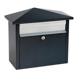 None - Black Wall- or Post-mount Mail House Mailbox - Mail is secure when delivered to this Salsbury locking mail box made of 20-guage galvanized steel. The black and stainless, hip-roof, architectural design shape is a classic accent for mounting on your exterior home wall or post. Two keys are included.