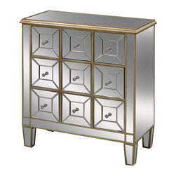 Sterling Industries - Roma Chest Drawer - 9 functional drawers create useful storage for stockings, socks, or even jewelry. Hand cut and beveled mirrored panels are finished with clear crystal handles that reflect light. A soft gold finish make this a great accent in the bedroom or any room you.