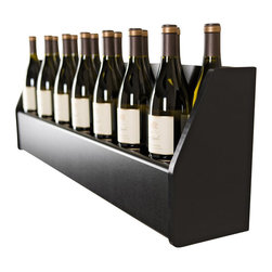 "Prepac - Prepac Floating Wine Rack in Black - Prepac - Wine Racks - BSOW02001 - Display your finest bottles of wine and liquor with this clever Floating Wine Rack. This wall mounted rack has a compact design to conserve space in your bar living room kitchen or dining area. With its sturdy construction you can display up to 18 standard 750ml bottles of wine or spirits. Keep a variety of stemmed glasses at hand by sliding them into the hidden channel underneath. This product ships ""Ready to Assemble"" with an instruction booklet for easy assembly. Installation is easy with Prepacs hanging rail system."